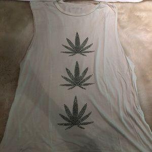 Tops - Weed Leaf Muscle Tee